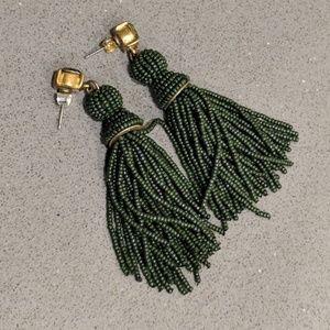 J. Crew Green Gold Beaded Tassel Earrings